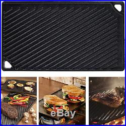 Grill Griddle Double Play Cast Iron Pre-Seasoned Reversible Pan Cook Home Stove