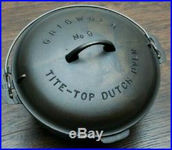 Grind Marks! Griswold #9 Large Block Logo Cast Iron Dutch Oven with Trivet Cleaned