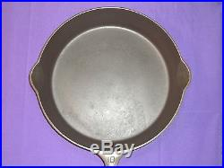 Griswold #10 Cast Iron Skillet Large Block ERIE PA USA Logo Sits Completely Flat