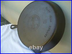Griswold #10 Cast Iron Skillet Large Block Logo 716 A ERIE PA Smooth bottom