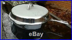 Griswold #10 Chrome Large Logo Skillet + High Dome Lid Cast Iron Erie PA