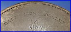 Griswold #14 Cast Iron Skillet 718 Large Block Logo Heat Ring Erie