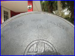 Griswold #14 Cast Iron Skillet Heat Ring Sits Flat No Pattern Number