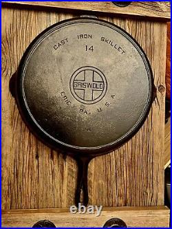 Griswold #14 Cast Iron Skillet Pan Large Block Logo with Heat Ring 718 Antique