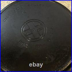Griswold #14 Cast Iron Skillet Pan Large Block Logo with Heat Ring 718A Vintage