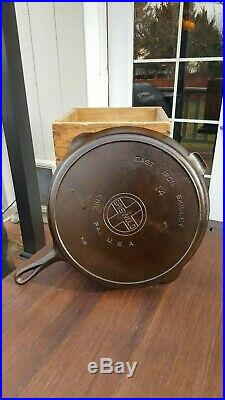 Griswold #14 Cast Iron Skillet With Large Block Logo And Heat Ring Restored