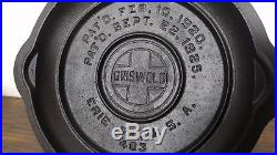 Griswold #3 Fully Marked Low Dome Cast Iron Skillet Lid Cover Erie PA USA VTG
