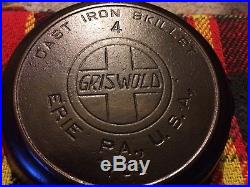 Griswold # 4 Cast Iron Slant Logo Erie Skillet With Heat Ring Free Shipping