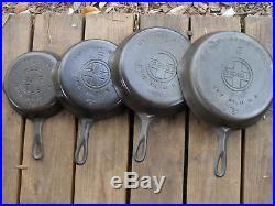 Griswold 5, 6, 7, 8 Large Block Logo Cast Iron Skillets Set