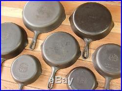 Griswold 7pc. Vintage Skillet Set Nos. 3 4 5 6 7 8 9 Cast Iron Restored