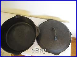 Griswold #8 DEEP hammered cast iron skillet 2028 with lid, very nice