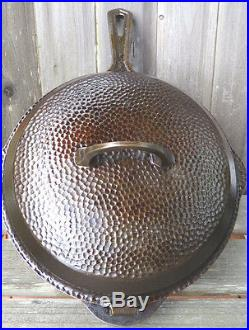 Griswold #8 Hammered Skillet 2028 Pan withHinged Lid Eerie PA USA Lg 10 Well-Kept