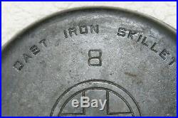 Griswold 8 Slant Logo 704 G 10 Cast Iron Skillet Pan Erie PA USA Gray 5 Handle