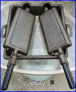 Griswold Antique Cast Iron Hotel Waffle Iron Flop Griddle #'s 993 994 Base # 990