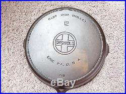 Griswold Cast Iron #12 Large Block Logo Skillet with Heat Ring PN 719