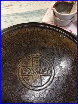 Griswold Cast Iron #12 Large Skillet withHeat Ring #719 Clean NICE