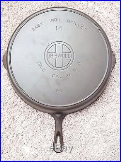 Griswold Cast Iron #14 Large Block Logo Skillet with Heat Ring PN 718