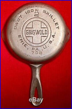 Griswold Cast Iron # 2 Skillet Block Smooth Bottom EB