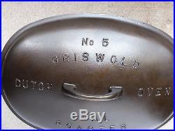 Griswold Cast Iron #5 Large Block Logo Dutch Oven Oval Roaster No Trivet
