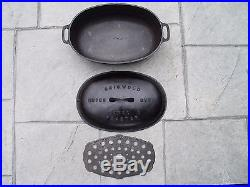 Griswold Cast Iron #5 Oval Roaster Dutch Oven 645 with Lid 646, Oval trivet 275A