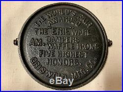 Griswold Cast Iron Award Griddle -World's Fair Bail Handle ERIE USA