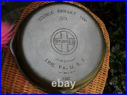 Griswold Cast Iron Double Skillet Top 80 Large Logo 1103 Clean Level NICE