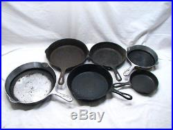 Griswold Cast Iron Frying Pans 3,5,6,7,8,9 Cookware Fry Skillet Lot Smoke Ring