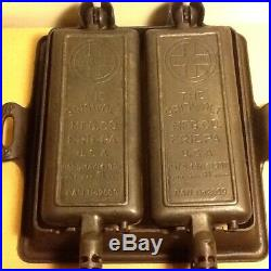 Griswold Cast Iron No. 12 Hotel Waffle Iron 2608/2609 and Base 990
