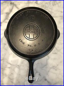 Griswold Cast Iron Skillet #10 / Heat Ring / Large Block Logo & #470 Cover