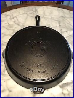 Griswold Cast Iron Skillet #14 # 718 / Heat Ring / Large Block Logo / Spinner
