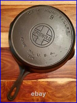 Griswold Cast Iron Skillet #8, Heat Ring, Large Block Logo, EPU, 704
