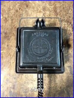 Griswold Cast Iron Square Waffle Maker High Base #11 Large Block Slant Logo