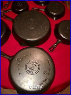 Griswold Cast iron Skillet Set 2 thru 10
