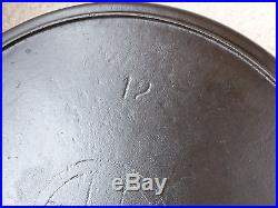 Griswold ERIE Cast Iron #12 Slant Logo Skillet with Heat Ring PN 719