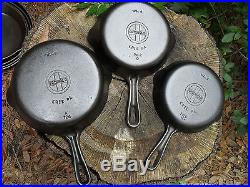 Griswold Erie 3 4 5 6 7 8 9 Cast Iron Skillets 3-9 Matching Set Near Mint