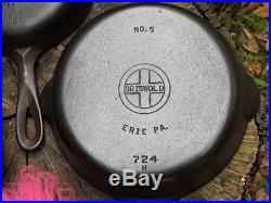 Griswold Erie 3 5 6 7 8 Cast Iron Skillets Set with Matching Early Handles Nice
