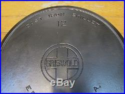 Griswold Large Block Logo #12 Cast Iron Skillet 719 with Heat Ring Very Clean