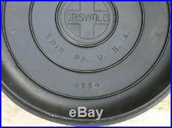 Griswold No. 11 Cast Iron Lid 2554 Tite-Top Dutch Oven Cover