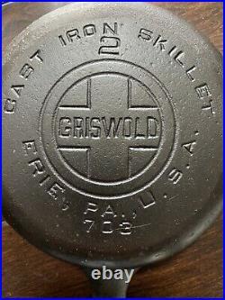 Griswold No. 2 Cast Iron Large Block Logo Skillet Restored Sits Flat