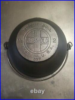 Griswold No. 2 LBL SMOOTH Bottom Cast Iron Scotch Bowl 837 HTF