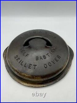 Griswold No 6 Self Basting Skillet Cover / Lid / Large Block Logo & Rings #1046