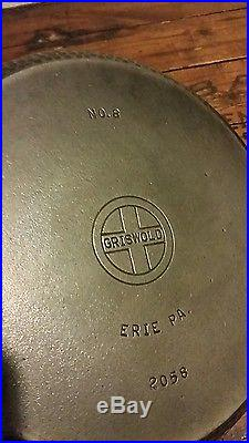 Griswold No. 8 Hammered Cast Iron Hinged Lid Dutch Oven pn 2058