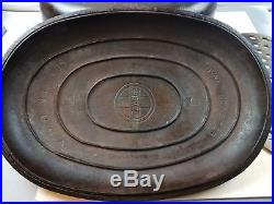 Griswold No. 9 Cast Iron Oval Roaster Partially Marked Top Block Logo w Trivet