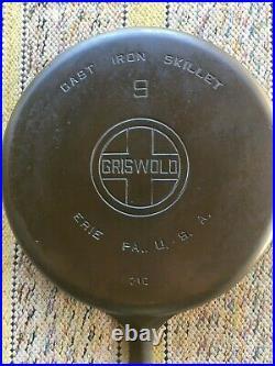 Griswold No 9, Large Logo, Cast Iron Skillet, Circa 1930 1939