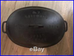 Griswold Number 7 Block Logo Oval Cast Iron Dutch Oven