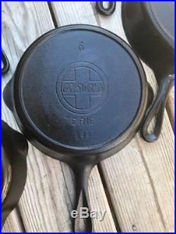 Griswold Slant Erie Logo Cast Iron Skillet Lot Skillets Heat Ring Seasoned 3-12