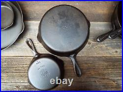 Griswold Small Logo Early Handle #'s 3, 5 10, 12 Cast Iron Skillets, restored