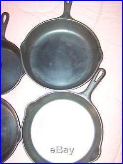 Griswold cast iron Skillets 3,4,5,6,7,8,9
