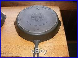 Griswold cast iron no. 12 skillet large logo withsmoke ring