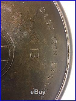 HTF Antique Griswold Cast Iron Skillet No. 13 Slant Erie Pa USA 720 withHeat Ring